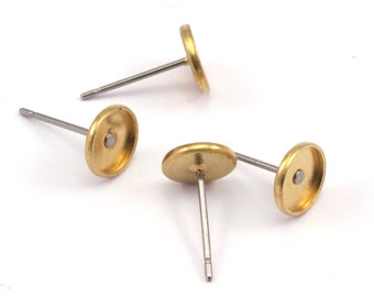 Stainless Post, Brass Flat Pad, 100 Stainless Steel Earring Posts With Raw Brass (6mm) Pad, Ear Studs Brc263