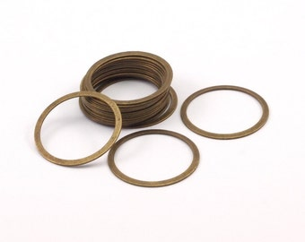 Circle Blank Ring, 100 Antique Brass Connector Rings  (22mm) Pen 449 K034