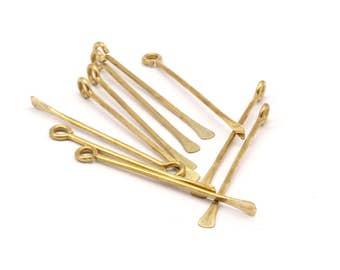 12 Customized Size Raw Brass Paddle Eye Pins D374