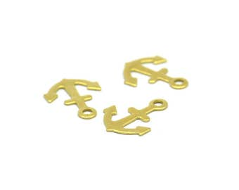 Brass Anchor Charm, 50 Raw Brass Anchor Charms (12x9mm)  Brs 629 A0198