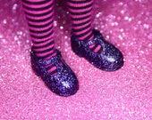 Blythe Deep Purple Glitter T-Strap Mary Jane shoes