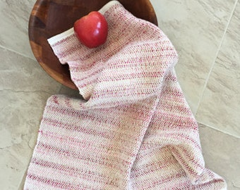 Handwoven kitchen towel, handwoven cotton towel, guest towel, pink and tan towel, OOAK towel