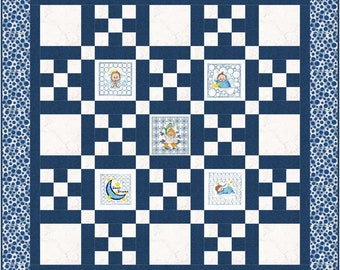"Embroidered Baby Quilt Top Kit – Blue – 49"" X 49"" FREE DOMESTIC SHIPPING #QT104"