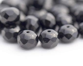 Jet Black Faceted Czech Glass Fire Polished Rondelle Beads 8mm (30)