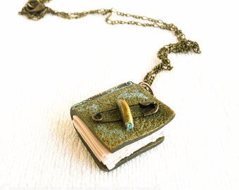 Vintage tiny book pendant