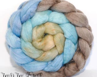 SWAN LAKE - Falkland Silk, Falkland wool, roving, spinning fiber, handpainted, hand dyed, combed top, hand dyed roving