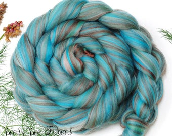 SLEEPING BEAUTY TURQUOISE - Custom Blend Merino-Bamboo Combed Top Wool Roving for Spinning or Felting -4 oz
