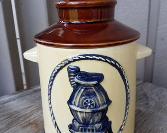 Ceramic Milk Can, Crock Canister, Cookie Jar with Raised Pot Belly Stove Design