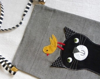 Cat with a Birdie friend bag