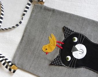 Cat with a Birdie friend bag