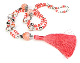 Tassel Necklace, Pink Coral Beaded Necklace, Long Bohemian Necklace