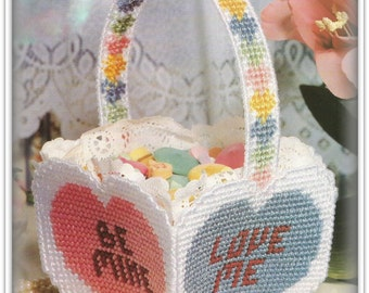 Valentine Basket For Conversation Candy Hearts PATTERN - PDF 06311820