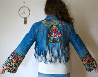 Mexican Embroidered Denim Fringe Bell Sleeve Cropped Jacket Bohemian Upcycled Distressed Eco Friendly Festival Jean Jacket/Coat Size Small