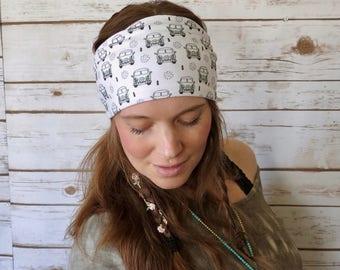 VW Hippie Van Bus Print Bohemian Boho Hippie Yoga Headband Turban Hair Wrap Upcycled Recycled Festival Summer