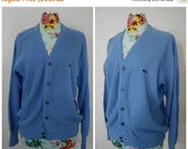 PRE HOLIDAY SALE Vintaeg Izod Lacoste Sky Blue Acrylic V-Neck Cardigan Sweater | Sportswear 1970s | Unisex Med 36 Chest | Boyfriend Sweater