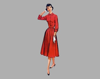 1956 Dress pattern McCall's 3748 Bust 36, Pleated full skirt Banded sleeves Front button dress Shirtwaist dress Step in dress Short sleeves