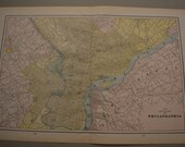 1898 LARGE City Map Philadelphia Pennsylvania - Vintage Antique Map Great for Framing 100 Years Old