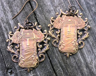 Seraphim One of a Kind Earrings with Antique French Brass Stampings and Oxidized Brass Filigree