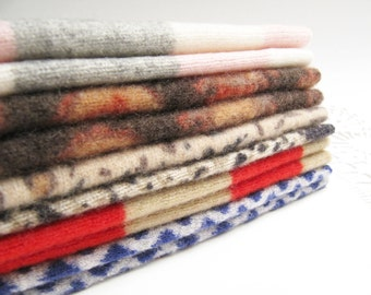 "Cashmere Wool Felt Squares Fabric Bundle Felted Cashmere Wool Sweater Fabric Destash Cashmere in Several Patterns - 10 - 6"" x 8"" Pieces 77"