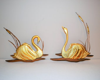 Vintage Swans with Cattails and Wood Wall Decor