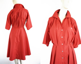 Cherry Red Vintage Button Down Woman's Vintage Shirt Dress