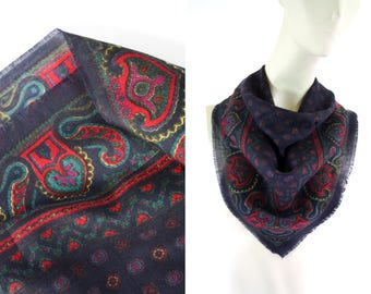 Vintage 80's Navy and Red Paisley Retro Square Scarf