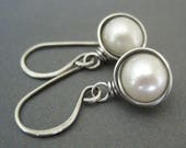 Freshwater Pearl Earrings Sterling Silver Wire Wrapped Earrings June Birthstone Jewelry Pearl Dangle