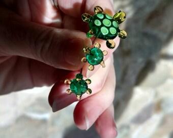 Fairy Garden accessory, small glass turtle family. Turtles for fairy garden, fairy garden supply, terrarium kit