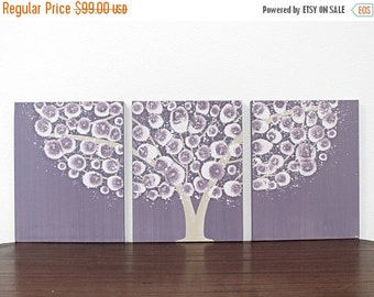 ON SALE Baby Girl Nursery Art - Purple Tree Wall Art - Original Acrylic Painting on Triptych Canvas - Medium 35x14