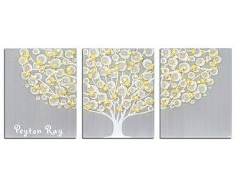 Custom Name Inscription on Nursery Tree Painting - Gray and Yellow Canvas Wall Art Textured Triptych - Large 50X20