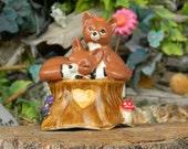 Love Foxes  Cake Topper Wedding in a tree stump W heart - Ceramic  Glazed Fox couple decoration