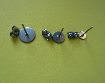 Findings: 5prs Surgical Steel Stud Earring Ear Post 5 7 or 9mm Flat Pad