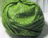 Metallic Green Vintage Turban Brimless Hat Structured Turban Eyelash Tinsel Fabric Cap Vintage 1950s 50s McWhirr's Fall River MA