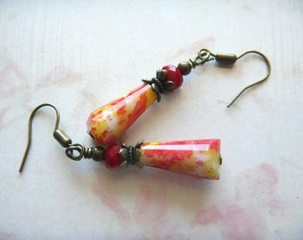 Vintage Style Earrings.  Yellow Red Teardrop and Red Rondelle Crystal.
