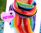 Crochet Pattern - Oversized Scarf in Rainbow Stripes - DIY Tutorial Digital Download - Kawaii Style Fashion Accessories - Chunky Scarves