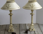RESERVED Vintage  MId-Century Tall Toleware Matching Lamps Cream and Hand Painted Gold Accents