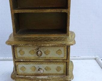 Vintage Florentine Small Two Draw Display/Jewelry Hutch