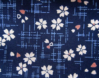Cherry Blossom Fabric - Floral Print Fabric - Cotton Fabric - Cherry Blooms on Navy - Half Yard