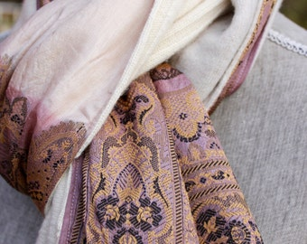 Pure Cashmere and vintage silk scarf.  Upcycled Indian sari silk.  Fawn, mauve, blush, cream.  Embroidered