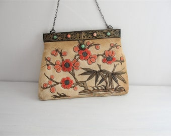 Antique Victorian Small Jeweled Frame Embroidered Tapestry Purse