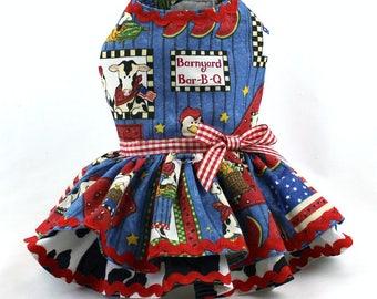 Dog Dress, Dog Harness Dress, Dog Clothes for Small Dog, Ruffle Dress for Dogs, Summer Dress, Handmade Dress, Custom Dress, Blue, BBQ
