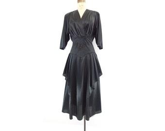 Black Peplum Dress Vintage Party Dress Black Midi Dress 30s Style 80s Dress 1980s Black Dress Dolman Sleeve Dress Surplice Black Dress s