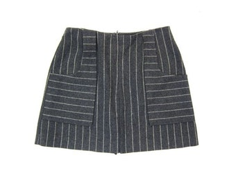 Vintage 60s Mini Skirt High Waist Grey White Striped Miniskirt Short Wool Mini Skirt with Pockets Mod School Girl Preppy Skirt XS