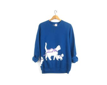 Blue Cat sweatshirt White Puff Paint Vintage 1980s Retro Hipster Novelty Kitty Cat sweater Women's Size Extra Large XL