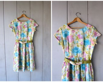 Floral Party Dress 50s House Day Dress Colorful Garden Flower Print Dress Green Blue Purple Spring Dress Vintage Womens Medium