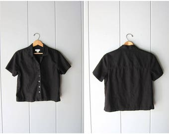 Natural Linen Rayon Blouse Cropped Black Minimal Top Button Up Short Sleeve BOXY Tee 90s Modern Linen Basic Top Vintage Womens Small XS