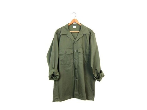 Military Shirt Army Olive Drab Green 80s Commando Field Button Up Utility Shirt Grunge Cargo Vintage Camo Shirt Hipster Mens Medium Large