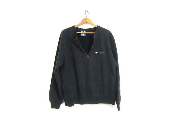 vintage Champion sweatshirt Faded Black sweatshirt distressed ATHLETICS Sports Sporty Logo Emblem workout Top Size Large