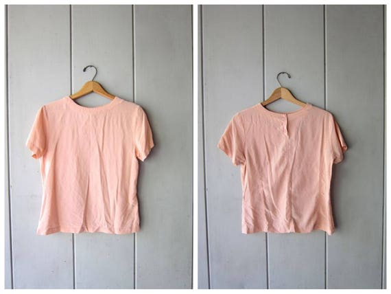 Cropped Silk Blouse Pink Silk Crop Top Short Sleeve TShirt Minimal Top Plain Vintage Silk Shirt 1990s Casual Tee Womens XS Small