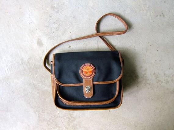 Canvas & Leather Saddle Bag 90s Preppy Navy Blue Brown Cross Body Purse Nautical Purse Vintage Across Body Satchel Tote Womens Shoulder Bag